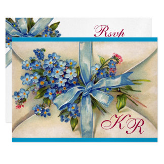 FORGET ME NOTS MONOGRAM WEDDING RSVP blue silver 9 Cm X 13 Cm Invitation Card