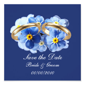 Forget Me Nots, Save the Date card 13 Cm X 13 Cm Square Invitation Card