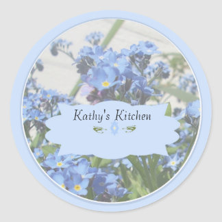 Forget me nots spice jar labels round sticker