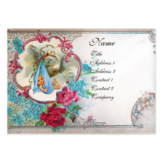 FORGET ME NOTS STORK BABY SHOWER 2 MONOGRAM white Pack Of Chubby Business Cards