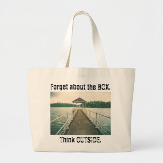 Forget the Box Think Outside. Retro Lake with Dock Jumbo Tote Bag