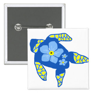 Forgetmenot flower sea turtle button