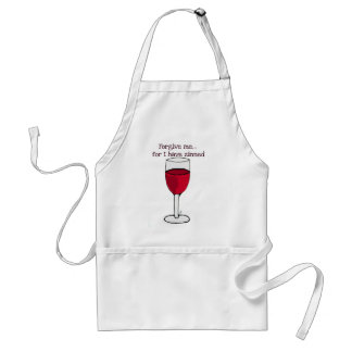 FORGIVE ME FOR I HAVE ZINNED...WINE PRINT BY JILL STANDARD APRON