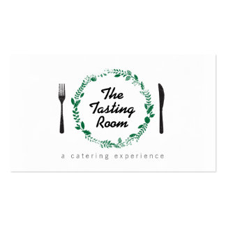 Fork and Knife Wreath 3 Catering, Chef, Restaurant Pack Of Standard Business Cards