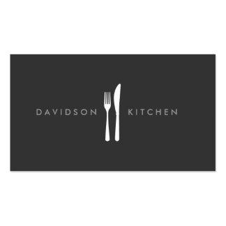 Fork & Knife Logo 2 for Chef, Foodie, Restaurant Pack Of Standard Business Cards