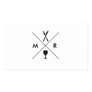 FORK & KNIFE LOGO MONOGRAM on WHITE Pack Of Standard Business Cards