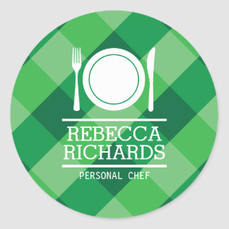 Fork, Plate, Knife Logo on Green Gingham Classic Round Sticker