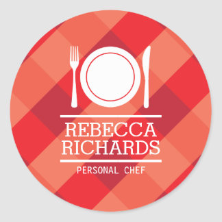 Fork, Plate, Knife Logo on Red Gingham Classic Round Sticker