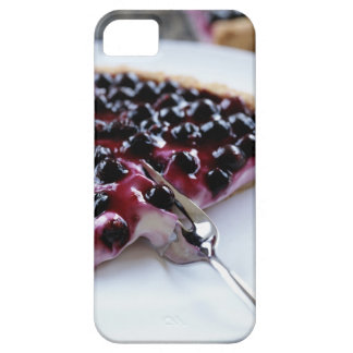 Fork slicing blueberry pie on plate iPhone 5 cases