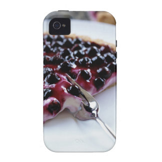 Fork slicing blueberry pie on plate iPhone 4/4S covers
