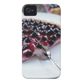 Fork slicing blueberry pie on plate iPhone 4 case