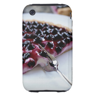 Fork slicing blueberry pie on plate tough iPhone 3 case