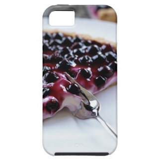 Fork slicing blueberry pie on plate iPhone 5 case