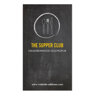 FORK SPOON KNIFE CHALKBOARD LOGO 2 for Restaurant Business Card Templates