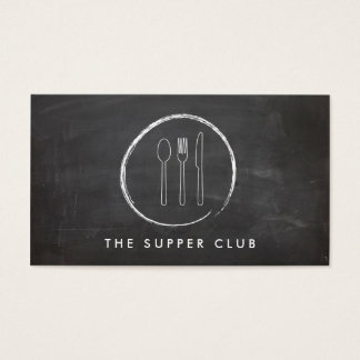 FORK SPOON KNIFE CHALKBOARD LOGO for Restaurant Business Card