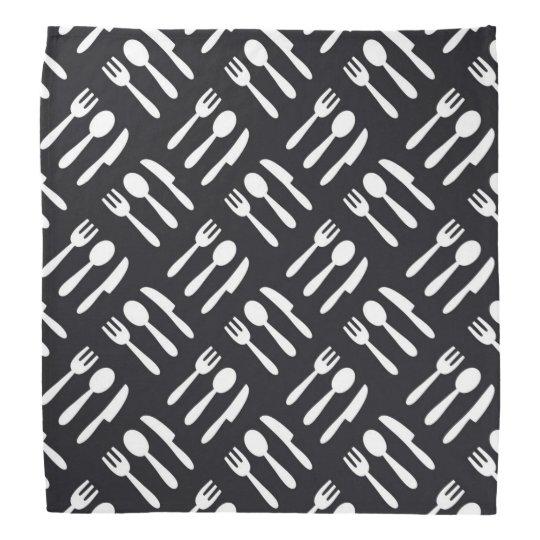 Fork spoon knife pattern bandana