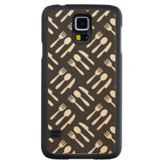 Fork spoon knife pattern carved maple galaxy s5 case