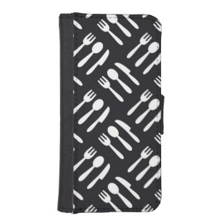 Fork spoon knife pattern iPhone SE/5/5s wallet case