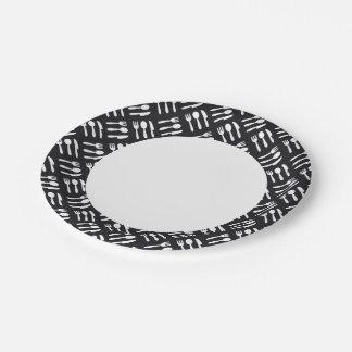 Fork spoon knife pattern paper plate