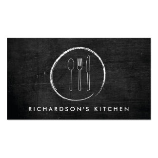 FORK SPOON KNIFE SKETCH LOGO for Catering, Chef... Pack Of Standard Business Cards