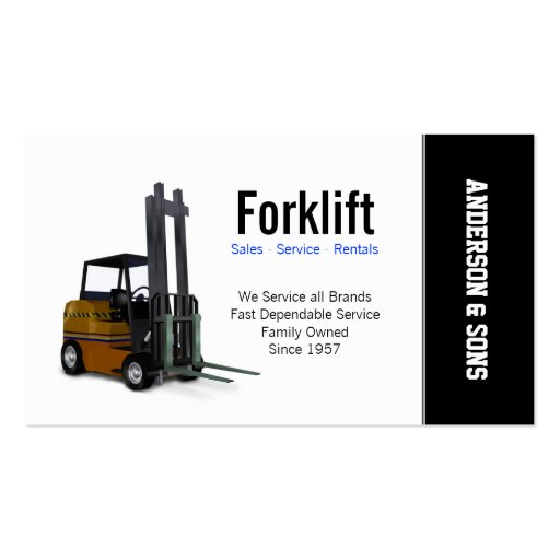 Forklift Sales and Service Business Cards