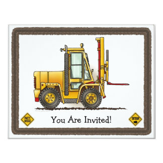 Forklift Truck Kids Party Invitation