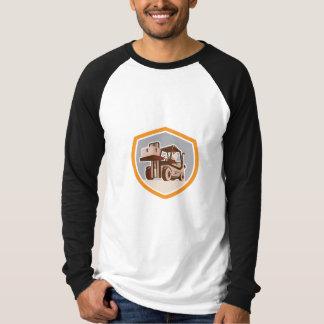 Forklift Truck Materials Handling Logistics Shield Tee Shirts
