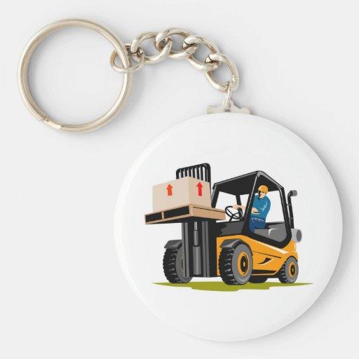 forklift truck retro keychain