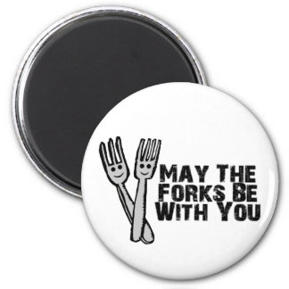 Forks Be With You 6 Cm Round Magnet