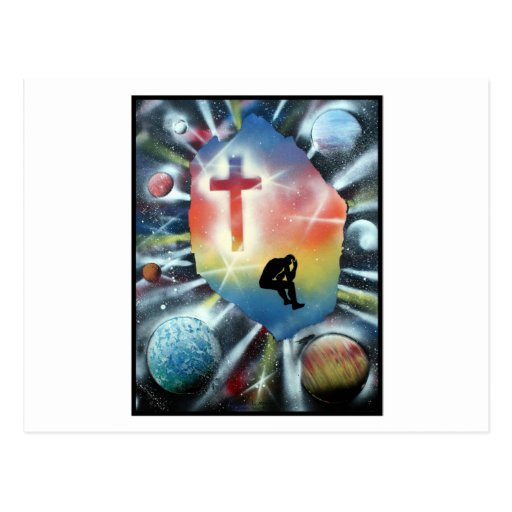 Forlorn Figure Colourful Universe Cross Postcard