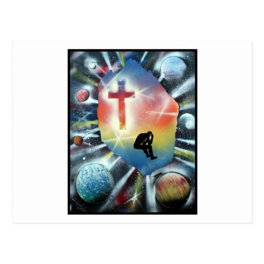 Forlorn Figure Colourful Universe Cross Postcard