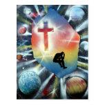 Forlorn Figure Colourful Universe Cross Postcards