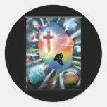 Forlorn Figure Colourful Universe Cross Round Sticker