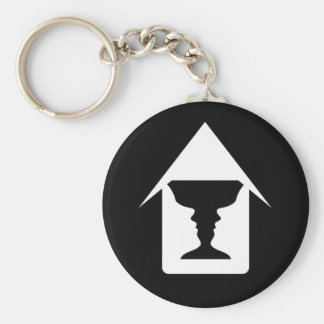 Form of vase created from 2 faces inside a house basic round button key ring
