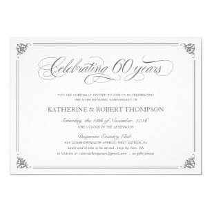 60th anniversary wedding invitations zazzle co uk