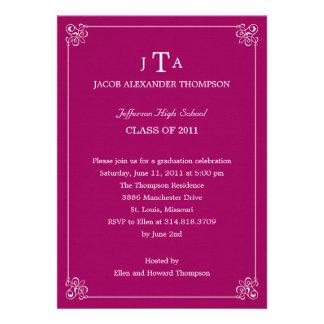 Formal Affair Graduation Party Invitation - Pink Invitation