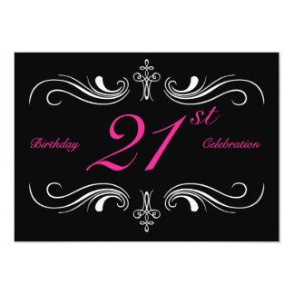 "Formal Black 21st Birthday Invitation 5"" X 7"" Invitation Card"