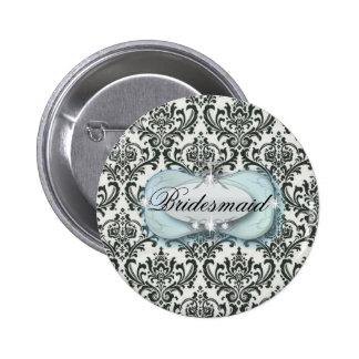 formal black and white damask wedding 6 cm round badge