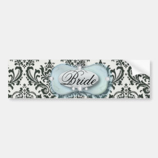 formal black and white damask wedding bumper sticker