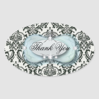 formal black and white damask wedding oval sticker