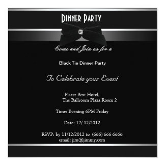 Formal Black and White Party Any Event 13 Cm X 13 Cm Square Invitation Card