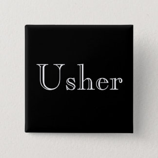 Formal black and white usher button