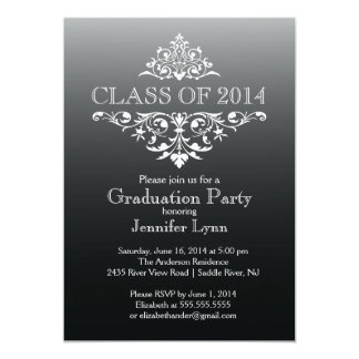 Formal Black Elegant Flourish Graduation Party Card