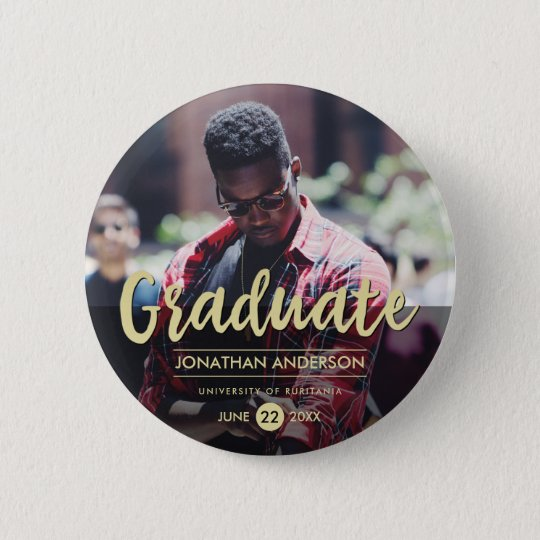 Formal Black & Gold Graduation Party | Photo 6 Cm Round Badge