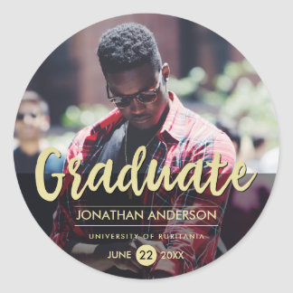Formal Black & Gold Graduation Party | Photo Round Sticker