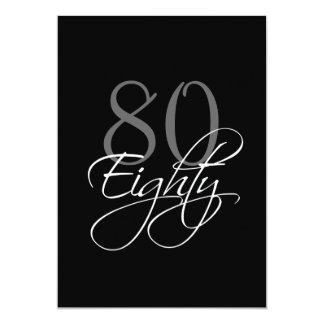 Formal Black Gray 80th Birthday Invitation