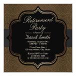 "Formal Black Ribbon Brown Damask Retirement Party 5.25"" Square Invitation Card"