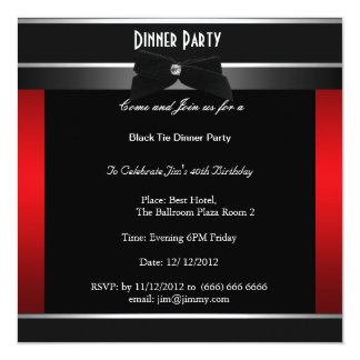 "Formal Black Tie Birthday Dinner Party Invitation 5.25"" Square Invitation Card"