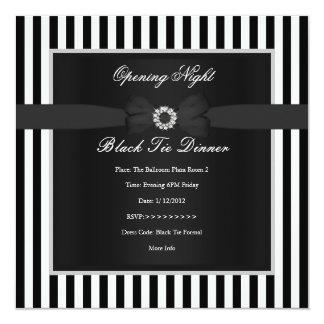 """Formal Black Tie Dinner Black White Stripe Bow 5.25"""" Square Invitation Card"""