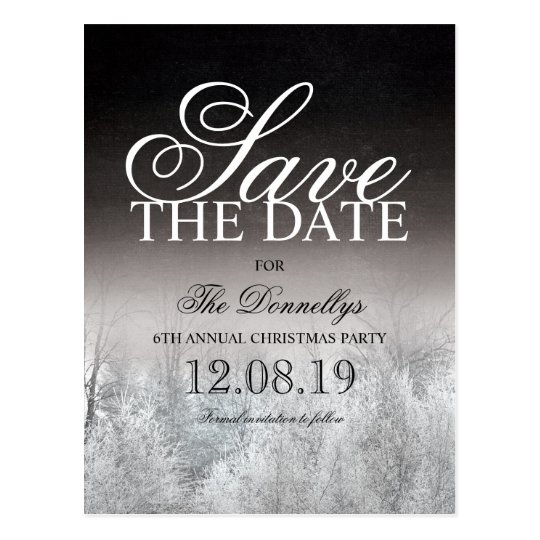 Formal Black White Christmas Party Save the Date